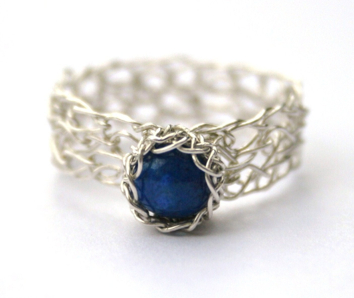 Crocheting Rings : Lapis Lazuli Silver Ring Wire Crocheted by WrappedbyDesign