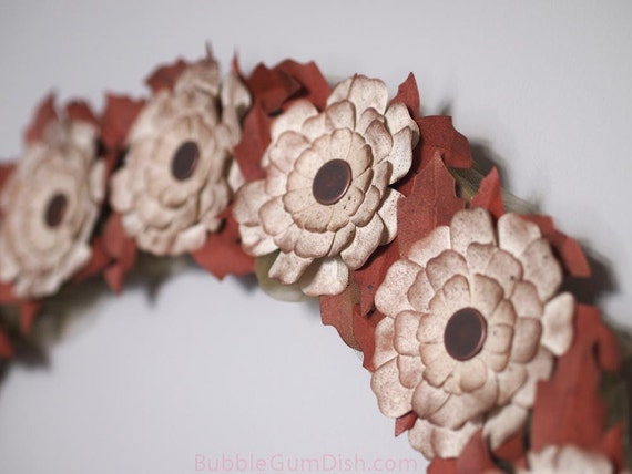 Thanksgiving Decor Autumn Wreath Tea Dyed Wreath Paper Flowers Copper Colored Leaves Large