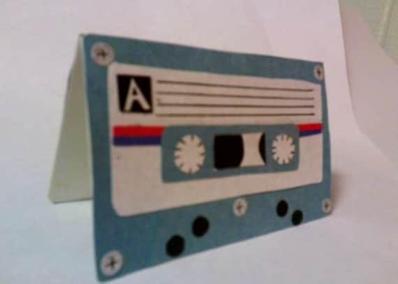 Handmade Cassette Tape Card - Cardstock