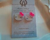 Glitter Hello Kitty Earrings - post style earrings