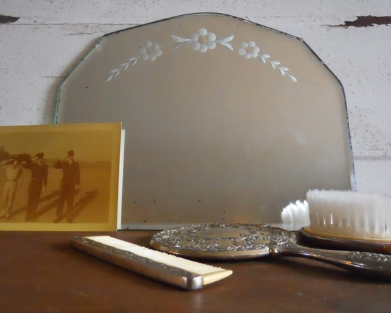 Beveled Mirror, Floral Etched- Free Shipping