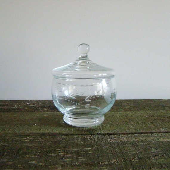 SALE-Clear Glass Container, Floral Etched- Free Shipping