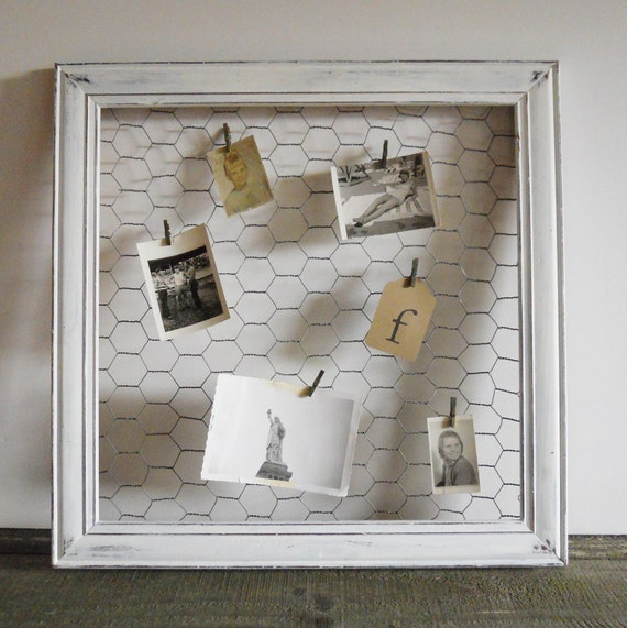 Wood Frame with Chicken Wire, Organizer- Free Shipping
