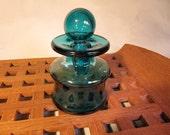 Dansk Quistgaard, IHQ aqua glass vase, France, with handblown stopper