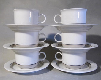 Arabia of Finland, cups and saucers, Seita Artica, 80s design, 2 sets of 6