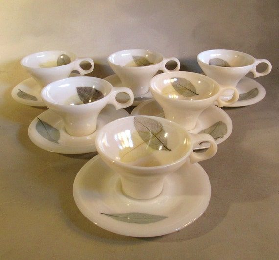 """Russel Wright, Flair, Ming Lace, """"Spring"""" color, teacups and saucers"""