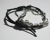 Barbed Wire Bracelet with Chains - 7-inch, 3-strand, Black Barbed Wire Leather, Dull Silver Aluminum Chain