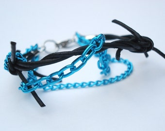 Barbed Wire Bracelet with Chains - 7-inch, 3-strand, Black Barbed Wire Leather, Bright Vibrant Blue Aluminum Chain