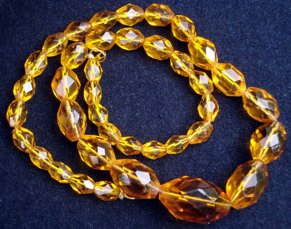 Vintage Czech Glass CRYSTAL Faceted Beads Topaz Color