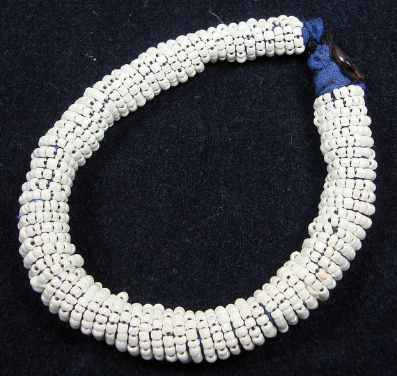 RESERVED Vintage Kuchi Afghan Tribal Beaded Bangle Bracelet  - White