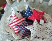 Primitive Bowl Fillers Star and Stripes Stars set of 6 Patriotic Americana