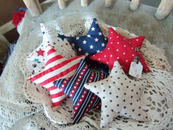 Primitive Bowl Fillers Star and Stripes Stars set of 6 Patriotic Americana