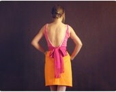 Hot Ice Cream Dress Boho Chic Bridesmaid Dress in Orange Cotton Pink Rose and Fuchsia with Low Back & Huge Bow