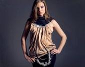 Black Velvet & Sheer Beige Mesh Tank Top with Black Lace Stripes, Silver Faux Fur, Beige Tulle, Velvet Collar, Embroidery