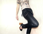 CIJ SALE 40% off - Black Panther Pants Slim Stretch Wetlook Glossy Leggings Rocker Steampunk Goth Pants Faux Leather Look