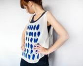 Blue Cosmic Stone Print Sheer Tank Top Minimalist Zen Geometric Abstraction Ivory Chiffon Tee Blue Hand Printed Top