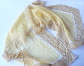 1960's Signature Vera Sheer Scarf in Yellow, Brown and White.