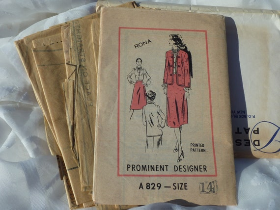 1970's Designer Pattern Chanel Syle Suit - Jacket, Blouse and Skirt