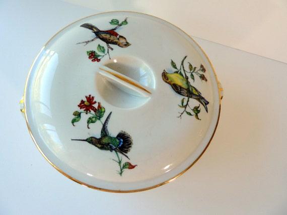 SALE -French Made Pillivuyt Porcelain Casserole Dish with Bird Designs