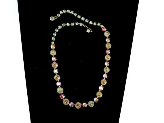 1950's Aurora Borealis and Clear Crystal Necklace by Regency