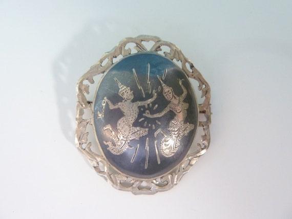1960's Siam Silver Brooch -- Nielloware Sterling Silver