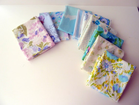 Vintage Sheet Fat Quarters - Bundle of 10 - Purples and Blues - Floral and Stripes
