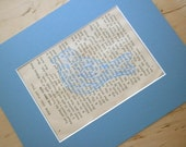 Vintage Book Art - Blue Bird Painting on 1920s Upcycled Book Paper