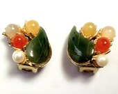 Vintage Swoboda Earrings With Jade, Pearls And Quartz