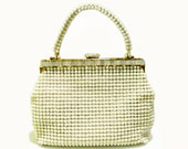 Vintage Hobnail Beaded Handbag With Faux MOP Lucite Trim Made In Hong Kong
