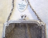 Antique Whiting And Davis Mesh Bag  / Purse With Original Tags