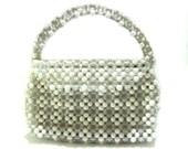 Vintage Mod 60s Lucite Beaded Purse Handbag