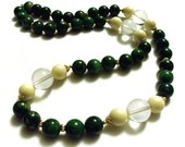 Lucite Bakelite Necklace Green, White, Transparent Beads Holiday Sale