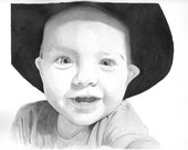 "Custom Baby Portrait - Pen & Ink Wash - Large - 9"" by 11"""