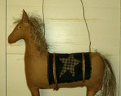made to order extreme primitive folk art horse ornie  -- Made in the USA