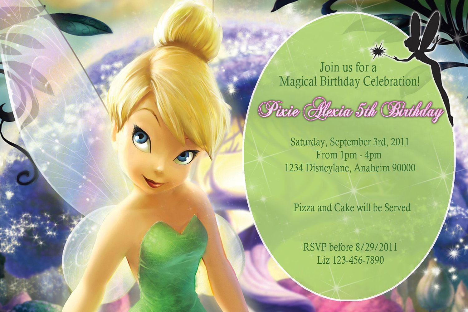 items similar to pixie tinkerbell birthday invitations diy