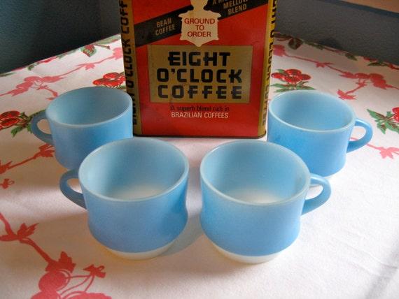 Midcentury Fire King Sky Blue Mug Set