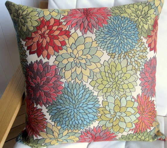 Decorative Pillow Cover- 20x20--Multi-Colored Floral wih Green, Red, Blue, Gold, Orange, Purple and Beige