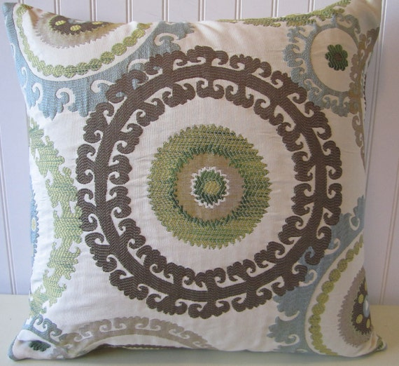 Suzani Decorative Pillow Cover--18x18 or 20x20 or 22x22 Gorgeous Throw Pillow--Slate Blue, Green, Taupe, Cream, Brown