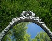 SALE - HOLLYWOOD REGENCY Silver Metallic Syroco Mirror 1970s Neo-Classical