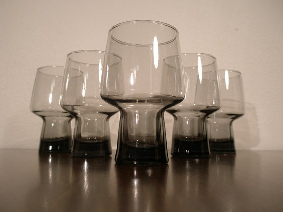 VINTAGE MODERN Glasses - Black Gray Slate Colored Glass