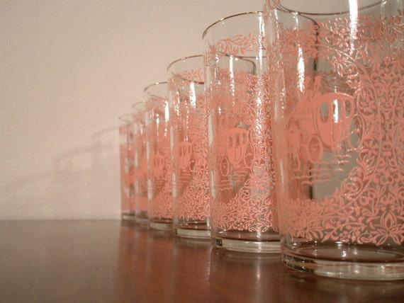 Vintage PINK Highball Tumbler Glasses - Set of 4