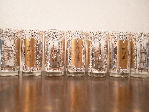 Sale - VINTAGE GOLD Glasses - 7 Pieces Gold Birdcage - Bird Cage Roses
