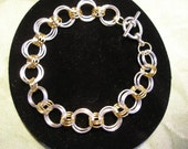 Silver and Gold Link Bracelet Triple Links Mixed Metal Large Silver Triple Links Small Gold Triple Links