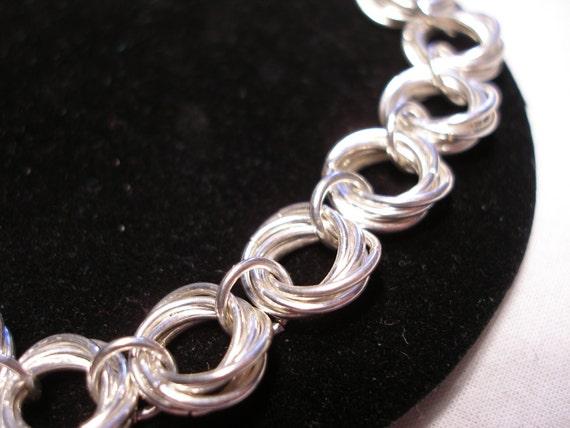 Silver Woven Link Bracelet Mobious Love Knot Inspired Interwoven Silver Link Bracelet