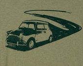 Mini Cooper Olive Green Graphic Tee Mens Organic Cotton