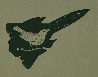 Blackbird Olive Green Graphic Tee Men's Limited Edition