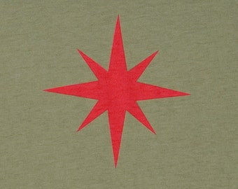 Star Olive Green Graphic Tee Mens Organic Cotton