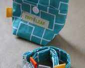 Teal Squares Pacifier Gift Set - Pacifier Clip and Pouch