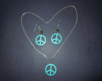 Turquoise Peace sign Necklace with Earrings