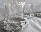 Wedding Christmas Glass Votive Candle Holder  Silver French Shabby Chic